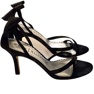 White House Black Market Strappy Open Toe Heels with Bow on back of Ankle 7